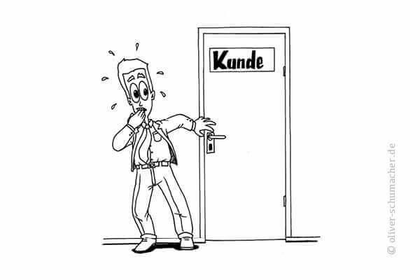 Comic: Verkäufer steht vor der Tür eines Kunden und traut sich nicht rein.
