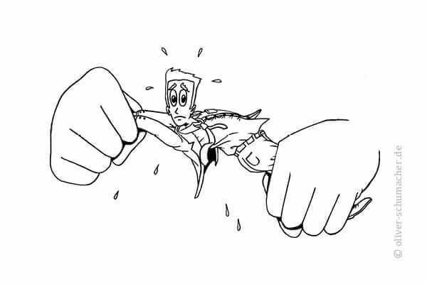 """Comic: Verkäufer wird von zwei großen Händen """"ausgewrungen""""."""