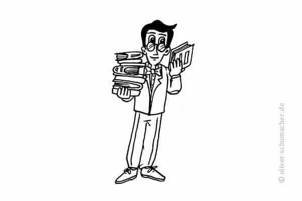 Comic: Mann trägt zwei Bücherstapel.