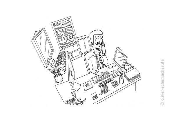 Comic: Verkäufer telefoniert begeistert in seinem Büro.