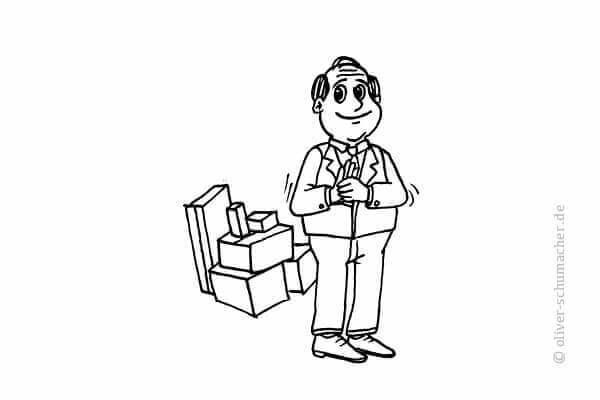 Comic: Mann mit Geschenken