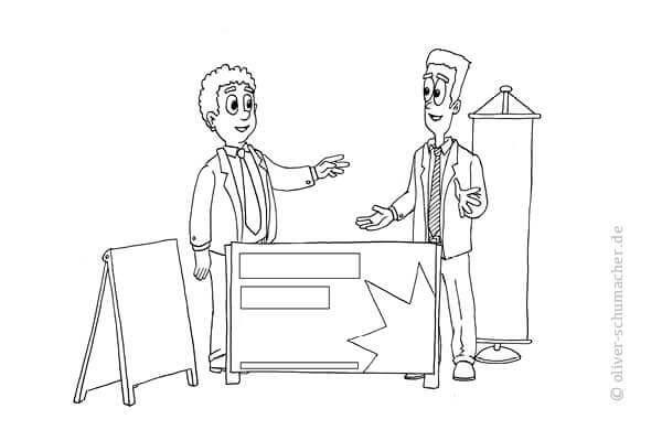 Comic: Zwei Verkäufer auf einem Messestand.
