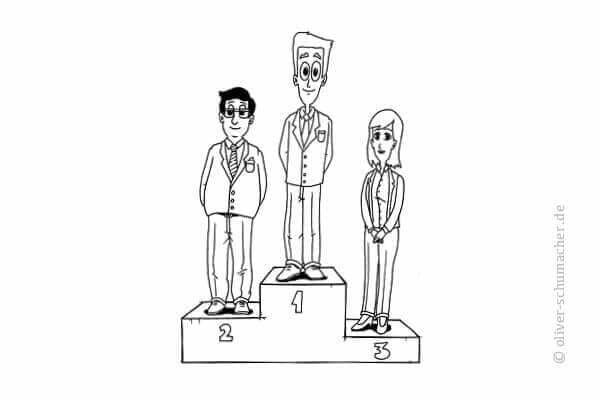 Comic: Drei Verkäufer auf einem Siegertreppchen.
