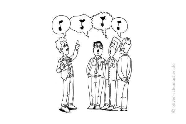 Comic: Chor singt unterschiedliche Töne.