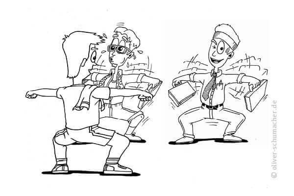 Comic: Ein Verkäufer macht sportliche Übungen vor, zwei weitere Verkäufer machen ihm diese nach.