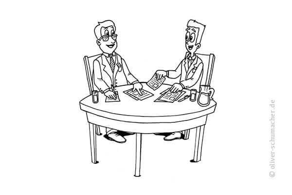 Comic: Zwei Männer am Verhandlungstisch.