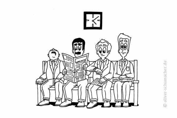 Comic: Vier Männer sitzen auf einer Bank.