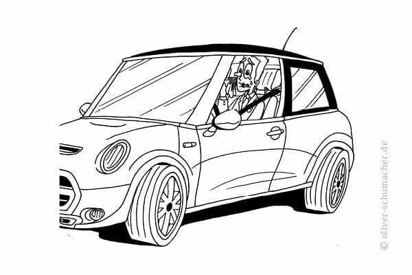 Comic: Verkäufer sitzt heulend in seinem Auto.